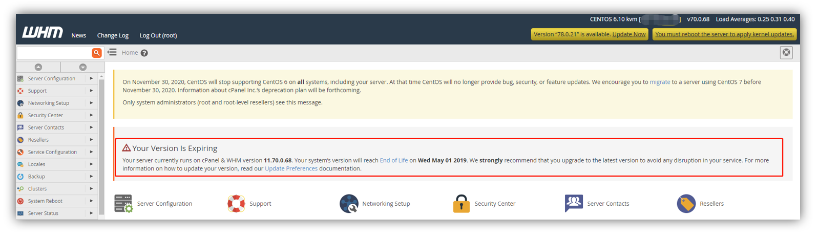 WHM/cPanel - Your Version Is Expiring